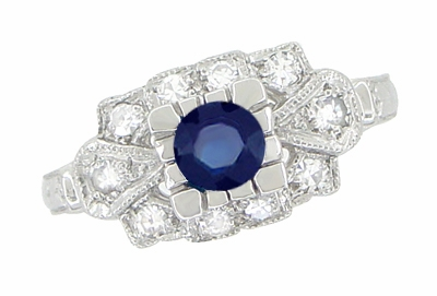 Art Deco Blue Sapphire and Diamonds Engagement Ring in 18 Karat White Gold - Item R880S - Image 1