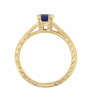 Art Deco Blue Sapphire and Diamonds Engraved Engagement Ring in 18 Karat Yellow Gold - Item R283Y - Image 2
