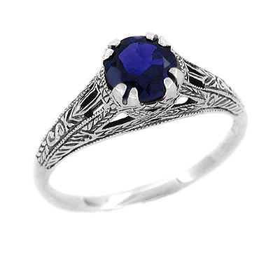 Art Deco Filigree Engraved Blue Sapphire Promise Ring in Sterling Silver