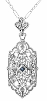 Art Deco Sapphire Filigree Pendant Necklace in Sterling Silver