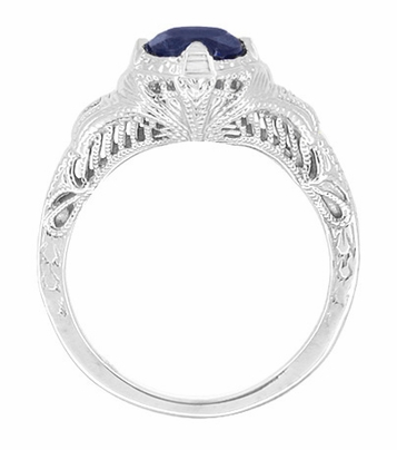 Art Deco Blue Sapphire Promise Ring with Engraved Filigree in Sterling Silver - Item SSR161S - Image 1