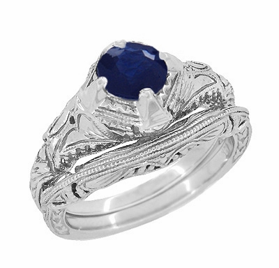 Art Deco Blue Sapphire Promise Ring with Engraved Filigree in Sterling Silver - Item SSR161S - Image 2