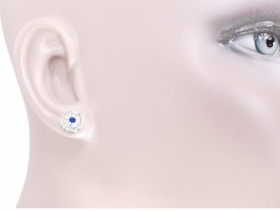 Art Deco Blue Sapphire Stud Earrings in 18 Karat White Gold - Item E152 - Image 3