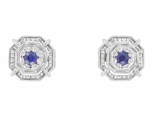 Art Deco Blue Sapphire Stud Earrings in 18 Karat White Gold