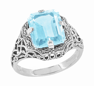 Art Deco Blue Topaz Filigree Ring in Sterling Silver