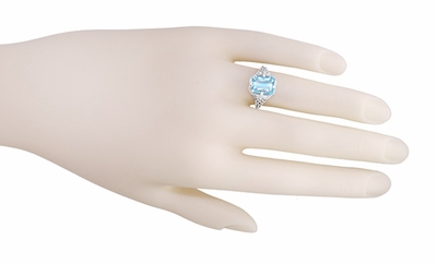 Art Deco Blue Topaz Filigree Ring in Sterling Silver - Item SSR16BT - Image 3