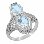 Art Deco Loving Duo Filigree  Blue Topaz Statement Ring in Sterling Silver