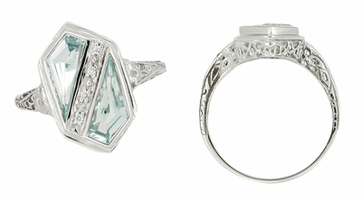Art Deco Blue Topaz Royal Shield Filigree Ring in 14 Karat White Gold - Item RV343B - Image 1