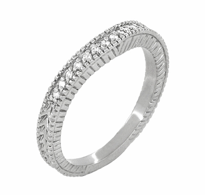 Art Deco Carved Wheat and Diamonds Curved Wedding Band in 18K White Gold - Item WR1153W - Image 1