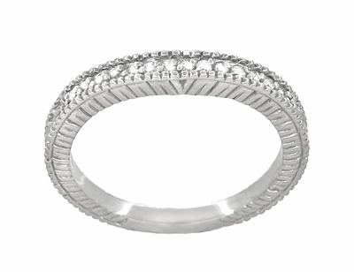 Art Deco Carved Wheat and Diamonds Curved Wedding Band in 18K White Gold - Item WR1153W - Image 2