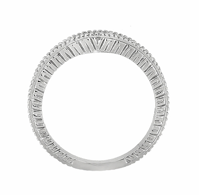 Art Deco Carved Wheat and Diamonds Curved Wedding Band in 18K White Gold - Item WR1153W - Image 4