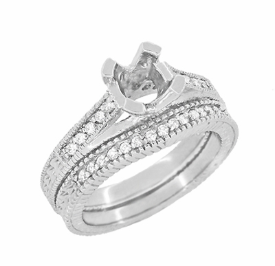 Art Deco Carved Wheat and Diamonds Curved Wedding Band in 18K White Gold - Item WR1153W - Image 5