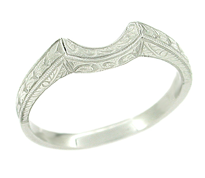Art Deco Carved Wheat and Scrolls Curved Wedding Band in Platinum