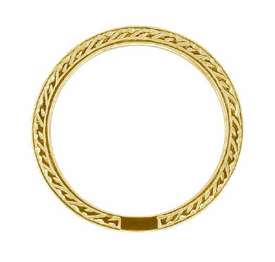 Art Deco Carved Wheat Diamond Eternity Wedding Band in 18 Karat Yellow Gold - Item R678Y - Image 1