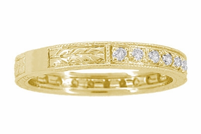 Art Deco Carved Wheat Diamond Eternity Wedding Band in 18 Karat Yellow Gold - Item R678Y - Image 2