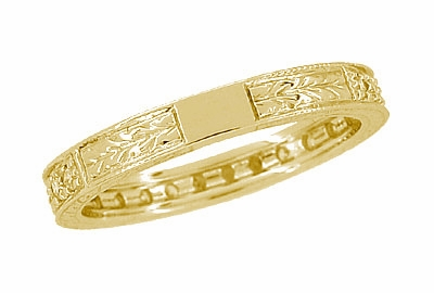 Art Deco Carved Wheat Diamond Eternity Wedding Band in 18 Karat Yellow Gold - Item R678Y - Image 3