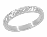 Art Deco Carved Wheat Pattern Wedding Band in 14 Karat White Gold
