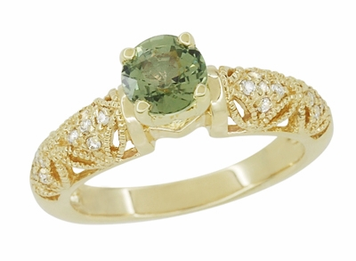 "Art Deco ""Charlene"" Filigree Green Sapphire Engagement Ring in 14 Karat Yellow Gold with Side Diamonds - Item R1190YGS - Image 1"