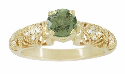 "Art Deco ""Charlene"" Filigree Green Sapphire Engagement Ring in 14 Karat Yellow Gold with Side Diamonds - Item R1190YGS - Image 2"