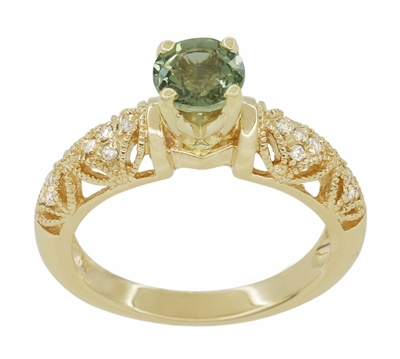 "Art Deco ""Charlene"" Filigree Green Sapphire Engagement Ring in 14 Karat Yellow Gold with Side Diamonds - Item R1190YGS - Image 3"