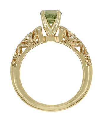 "Art Deco ""Charlene"" Filigree Green Sapphire Engagement Ring in 14 Karat Yellow Gold with Side Diamonds - Item R1190YGS - Image 4"