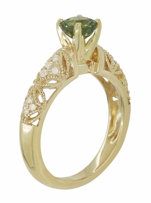 "Art Deco ""Charlene"" Filigree Green Sapphire Engagement Ring in 14 Karat Yellow Gold with Side Diamonds - Item R1190YGS - Image 5"