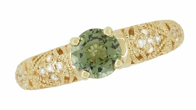 "Art Deco ""Charlene"" Filigree Green Sapphire Engagement Ring in 14 Karat Yellow Gold with Side Diamonds - Item R1190YGS - Image 7"