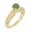 "Art Deco ""Charlene"" Filigree Green Sapphire Engagement Ring in 14 Karat Yellow Gold with Side Diamonds"