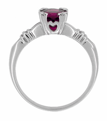 Art Deco Clovers and Hearts Rhodolite Garnet Engagement Ring in 14 Karat White Gold - Item R707WRG - Image 1