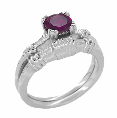 Art Deco Clovers and Hearts Rhodolite Garnet Engagement Ring in 14 Karat White Gold - Item R707WRG - Image 2