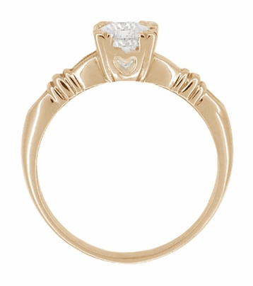 Art Deco Clovers and Hearts White Sapphire Engagement Ring in 14 Karat Rose ( Pink ) Gold - Item R163R50WS - Image 1
