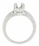 Art Deco Scroll Engraved 1 Carat Diamond Knife Edge Crown Engagement Ring Setting in 18 Karat White Gold