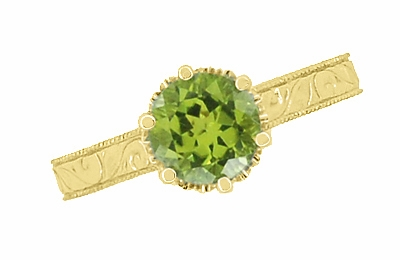 Art Deco Crown Filigree Scrolls 1.25 Carat Peridot Engagement Ring in 18 Karat Yellow Gold - Item R199YPER - Image 4