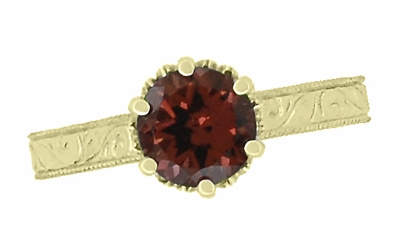 Art Deco Crown Filigree Scrolls 1.5 Carat Almandine Garnet Engagement Ring in 18 Karat Yellow Gold - Item R199YAG - Image 4