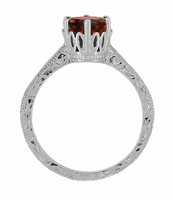 Art Deco Crown Filigree Scrolls 1.5 Carat Almandine Garnet Engagement Ring in Platinum - Item R199PAG - Image 3