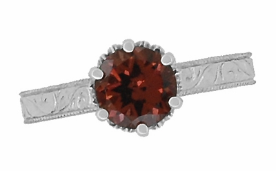 Art Deco Crown Filigree Scrolls 1.5 Carat Almandine Garnet Engagement Ring in Platinum - Item R199PAG - Image 4