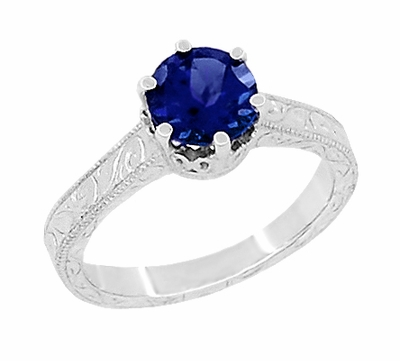 Art Deco Crown Filigree Scrolls 1.5 Carat Blue Sapphire Engraved Engagement Ring in 18K White Gold | Simple Antique Sapphire Engagement Ring Design - Item R199W1S - Image 1