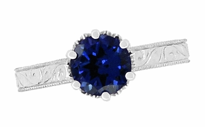 Art Deco Crown Filigree Scrolls 1.5 Carat Blue Sapphire Engraved Engagement Ring in Platinum, Antique 1920's Platinum Sapphire Engagement Ring Design - Item R199P1S - Image 4