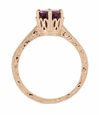 Art Deco Crown Filigree Scrolls 1.5 Carat Rhodolite Garnet Engagement Ring in 14 Karat Rose ( Pink ) Gold - Item R199RG - Image 3