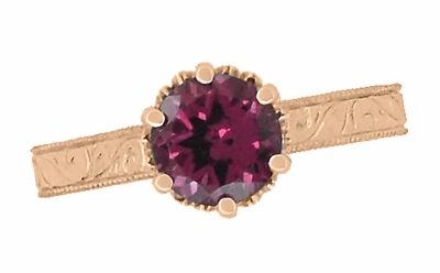 Art Deco Crown Filigree Scrolls 1.5 Carat Rhodolite Garnet Engagement Ring in 14 Karat Rose ( Pink ) Gold - Item R199RG - Image 4