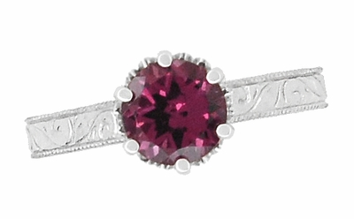 Art Deco Crown Filigree Scrolls 1.5 Carat Rhodolite Garnet Engagement Ring in 18 Karat White Gold - Item R199WG - Image 4