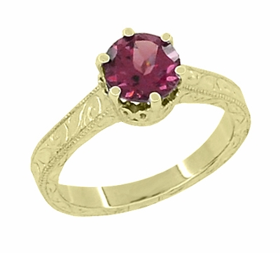 Art Deco Crown Filigree Scrolls 1.5 Carat Rhodolite Garnet Engagement Ring in 18 Karat Yellow Gold - Item R199YG - Image 1