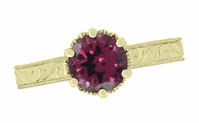 Art Deco Crown Filigree Scrolls 1.5 Carat Rhodolite Garnet Engagement Ring in 18 Karat Yellow Gold - Item R199YG - Image 4