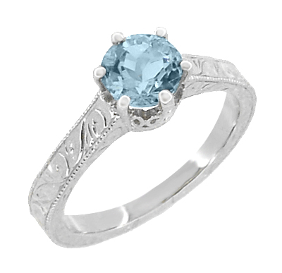 Art Deco Crown Filigree Scrolls 1 Carat Aquamarine Engraved Engagement Ring in 18 Karat White Gold