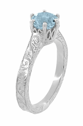 Art Deco Crown Filigree Scrolls 1 Carat Aquamarine Engraved Engagement Ring in 18 Karat White Gold - Item R199W1A - Image 1