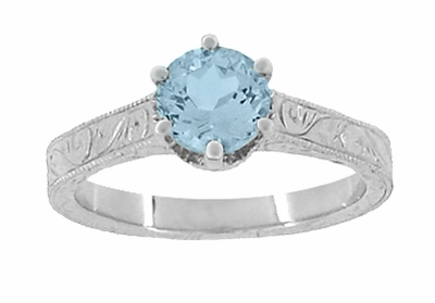 Art Deco Crown Filigree Scrolls 1 Carat Aquamarine Engraved Engagement Ring in 18 Karat White Gold - Item R199W1A - Image 4