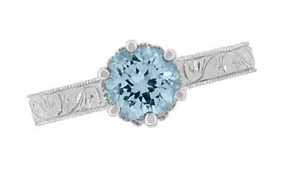 Art Deco Crown Filigree Scrolls 1 Carat Aquamarine Engraved Engagement Ring in 18 Karat White Gold - Item R199W1A - Image 5