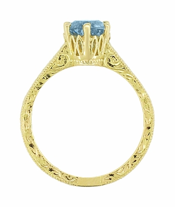 Art Deco Crown Filigree Scrolls 1 Carat Aquamarine Engraved Engagement Ring in 18 Karat Yellow Gold - Item R199Y1A - Image 3