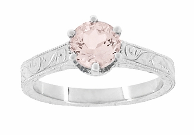 Art Deco Crown Filigree Scrolls 1 Carat Morganite Engraved Engagement Ring in 18 Karat White Gold - Item R199W1M - Image 4