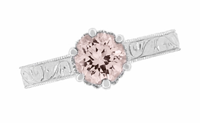 Art Deco Crown Filigree Scrolls 1 Carat Morganite Engraved Engagement Ring in 18 Karat White Gold - Item R199W1M - Image 5